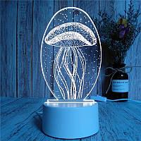 Светильник ночник Медуза 3D USB гаджеты led подсветка бра настольная лампа