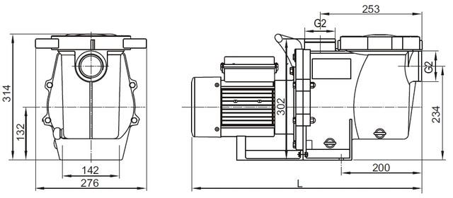 Габаритные размеры насосов AquaViva серии LX SWPB