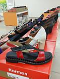 Женские босоножки сандалии низкий ход красные из кожи и замши от производителя KARMEN, фото 5