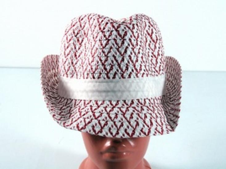 Соломенная шляпа Бевьер 28 см красно-белая 277521-07-СТ