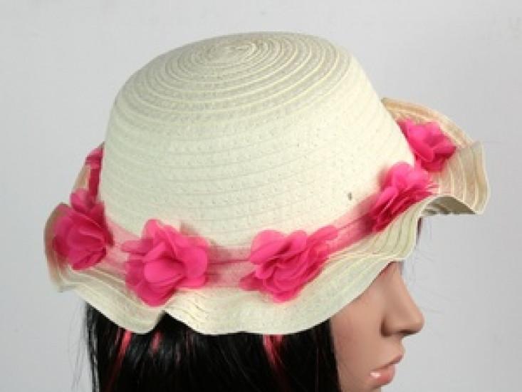 Соломенная шляпа детская Флюе 26 см бело-розовая 277538-07-СТ