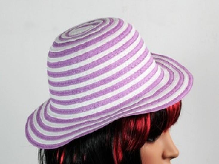 Соломенная шляпа детская Энфант 28 см бело-сиреневая 277781-07-СТ