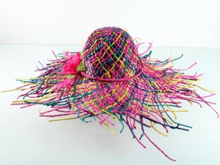 Соломенная шляпа Амазонка 60 см цветная 277516-07-СТ