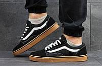 Кроссовки Vans. Мужские кроссовки Ванс черно-белые с коричневой подошвой.