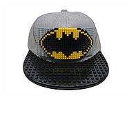 """Кепка-конструктор с прямым козырьком """"Bat Man"""" с логотипом / бейсболки лего"""