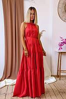 Шикарное платье сарафан летнее в пол с открытой спиной красное