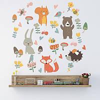 """Интерьерная виниловая наклейка на стену в детскую комнату  """"Лесные зверята"""""""