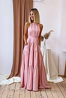 Модное женское летнее платье сарафан в пол с открытыми плечами цвет пудра