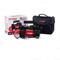 Автомобильный компрессор 2-цилиндровый с зажимами АКБ STORM Bi-Power 10 атм, 85 л/мин, 360 Вт компресор для