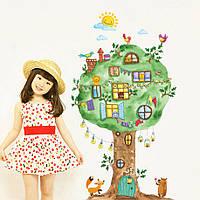 """Интерьерная виниловая наклейка на стену в детскую комнату """"Дерево с окошками"""""""