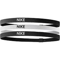 Повязки на голову Nike Elastic Headbands 3 pack черная, белая, черная