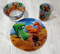 """Набор детской посуды 3-х предметный """"Хороший Динозавр""""."""