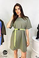 Короткое летнее платье-футболка oversize цвета хаки. Модель 25008