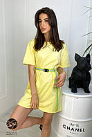 Короткое летнее платье-футболка oversize желтого цвета. Модель 25011