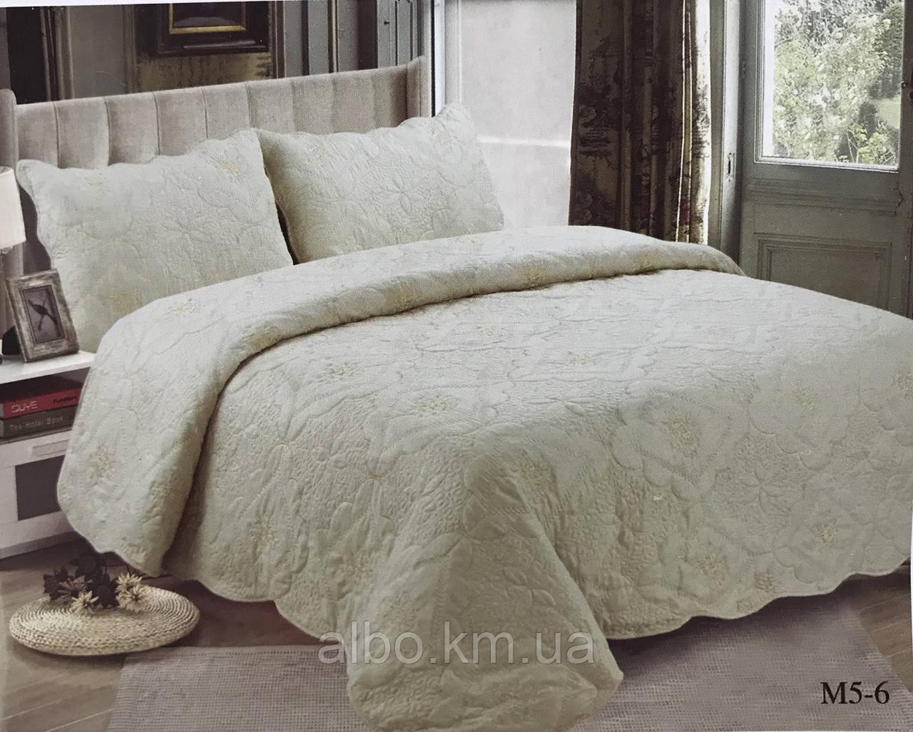 Покрывало на Евро кровать ALBO 210x230 cm + наволочки 50x70 cm (2 шт) Кофейное (P-M5-6)
