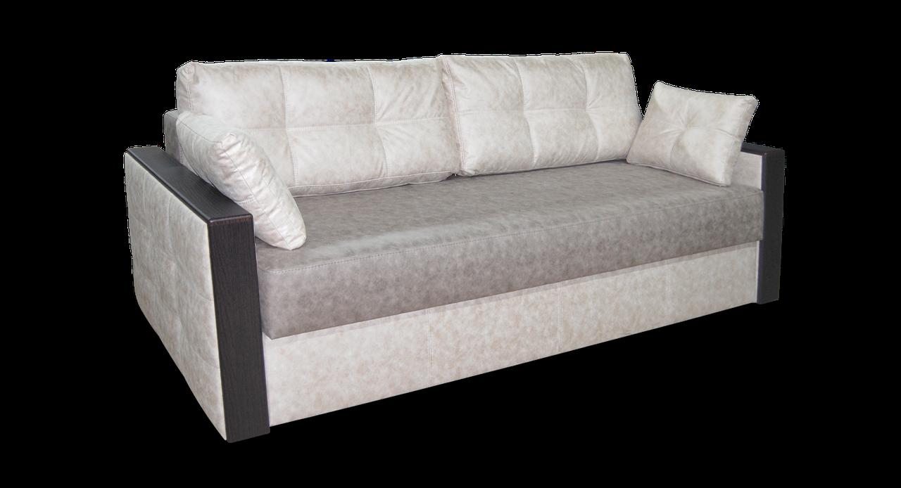 Бежевый диван Николь фабрики Нота с деревянными подлокотниками