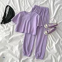 Модный женский костюм укороченная футболка и штаны с завышенной талией