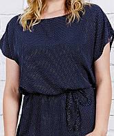 Летнее платье синее в мелкий горошек, из штапеля, размеры 44,46, 48, 50 ,52,54,56 (от производителя)