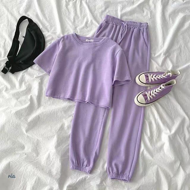 Бузковий спортивний костюм жіночий на літо топ і штани з дайвінгу