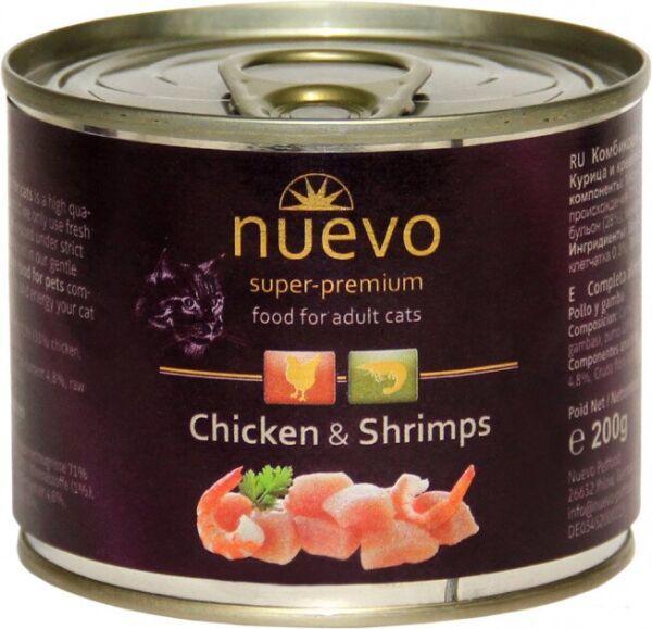 NUEVO ADULT влажный корм для кошек с курицей и креветками, 200 гр