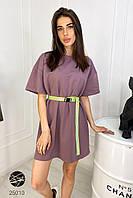Короткое летнее платье-футболка oversize сиреневого цвета. Модель 25010