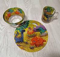 """Набор детской посуды 3-х предметный """"Динозавры""""."""