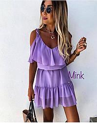 Платье летнее свободное сиреневое на завязках с воланами из шифона