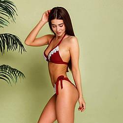 Раздельный женский купальник бордового цвета с кружевом