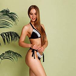 Раздельный женский купальник черного цвета с кружевом