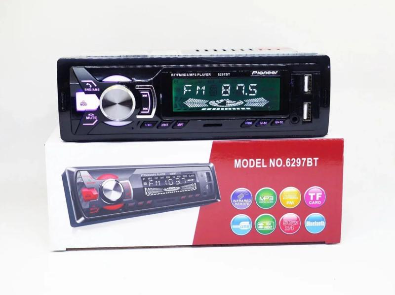 Автомагнітола 1DIN MP3 6297BT 2USB з зарядкою для телефону bluetooth