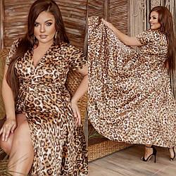 Летнее платье длинное на запах принт леопард большого размера, Нарядное летнее платье на запах больших размеров, Красивое летние платья больших