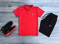 Футболка поло + Шорты Nike черно-красный / Комплект мужской летний
