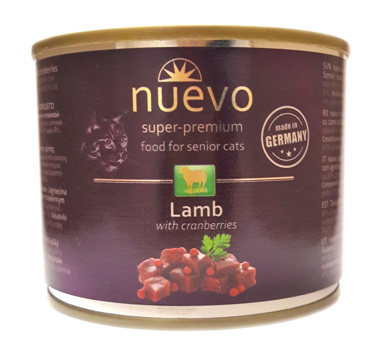 NUEVO SENIOR вологий корм для кішок з ягням і журавлиною, 200 гр