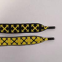 Шнурки плоские 20мм, черный+желтый, фото 1