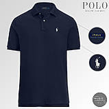 Мужская тениска Ralph Lauren (dark blue), темно-синяя футболка-поло Ralph Lauren, фото 2