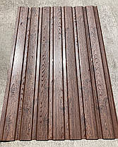 Профнастил с рисунком деревоВЕНГЕ 3Д размер листа 1,75 м Х 1,16м, фото 3
