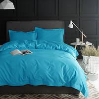 Ткань постельная однотонная бязь голд люкс цвет голубой