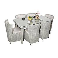 Элитная плетеная садовая мебель SET. Комплект мебели DINING SET RENGARD (стол и кресла 6 шт). Уличная мебель