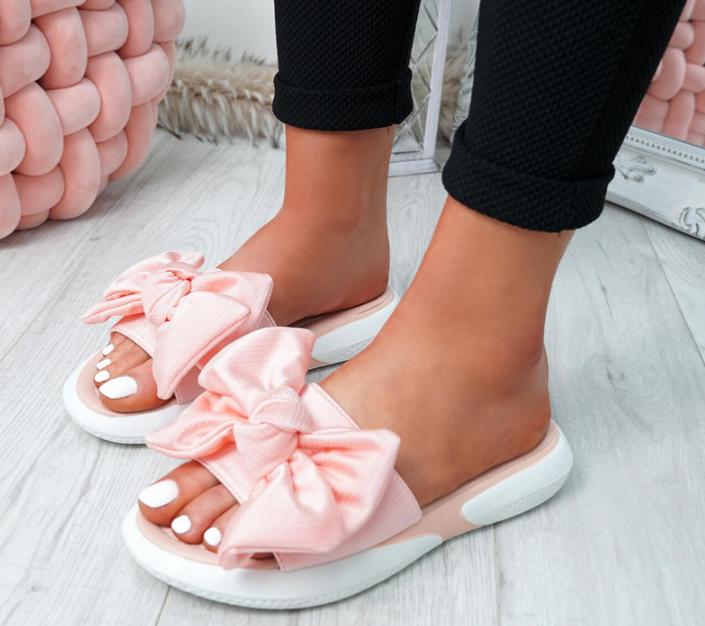 Оригінальні жіночі літні шльопанці з бантиком на плоскій підошві Flat sandals на штучній шкірі