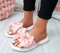 Оригінальні жіночі літні шльопанці з бантиком на плоскій підошві Flat sandals на штучній шкірі, фото 1