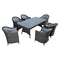 Элитная плетеная садовая мебель SET. Комплект GLORIA LOUNGE SET RENGARD (стол и кресло 6 шт). Уличная мебель