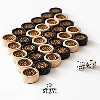 Деревянные фишки и кубики из бильярдного шара для нард, шашек