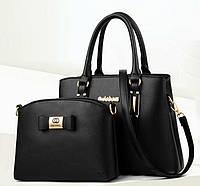 Набор женская сумка + мини сумочка клатч. Комплект 2 в 1 большая и маленькая сумка на плечо.