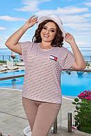 Женский стильный летний костюм: укороченные брюки и футболка Батал, фото 1