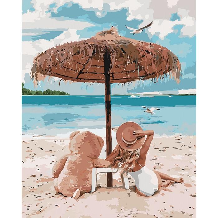 Картина по номерам Я и мой мишка ТМ Идейка 40 х 50 см КНО4671