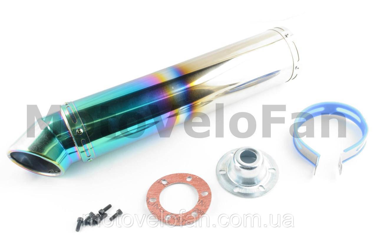 Глушитель (тюнинг)   420*100mm, креп. Ø78mm   (нержавейка, радуга, прямоток, mod:3)