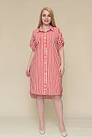 Полосатое платье красного цвета от производителя. Хит сезона 2020! Опт и розница. Размер 52, 54, 56, 58