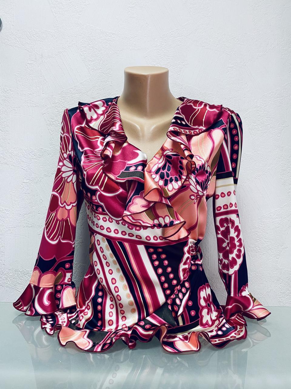 Блуза Eveline женская с воланом c рукавом 3/4 на запах цветная