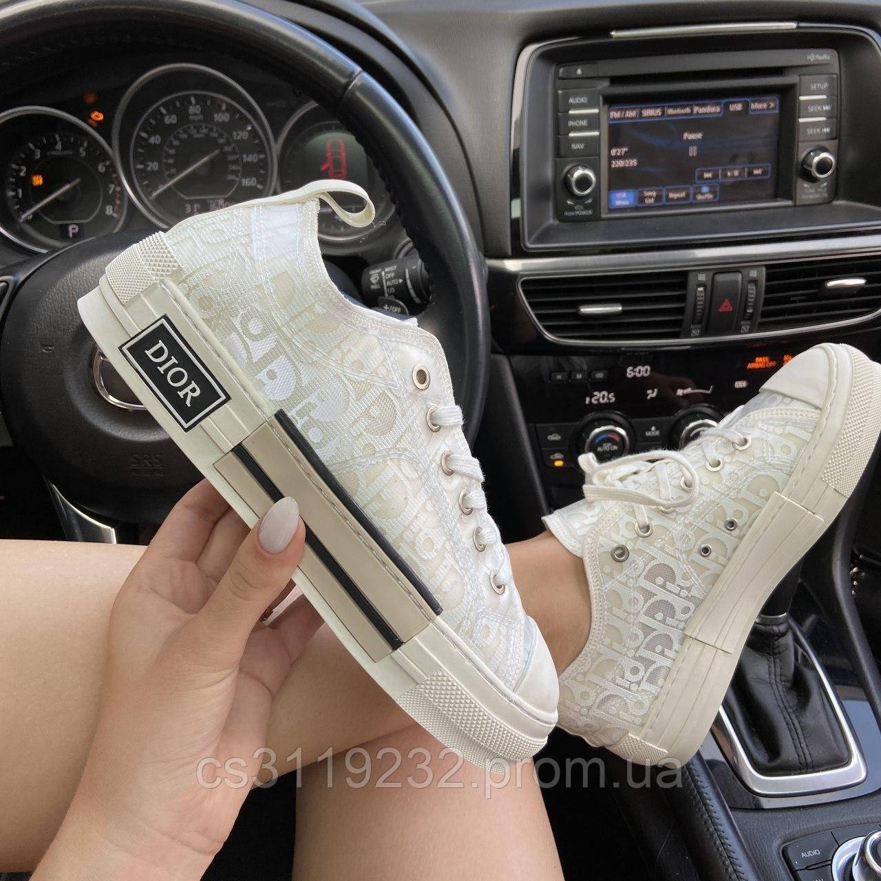 Женские кроссовки Dior B23 Low-Top Sneakers White (белый)