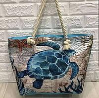 Сумка пляжная модная Черепашка женская летняя текстильная на канатах